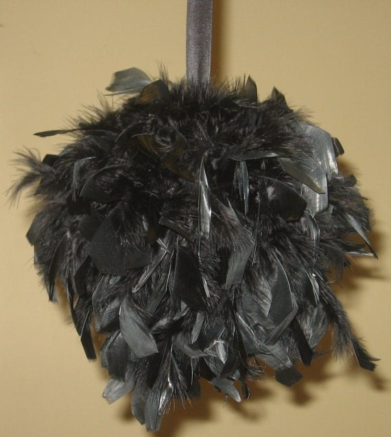 """6"""" Feather Kissing Ball, feather pomander, chandelle, Centerpiece, ribbon"""