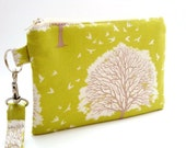 Zippered Wristlet with Detachable Wrist Strap-Joel Dewberry Fabric