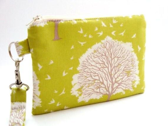 Zippered Wristlet with Detachable Wrist Strap-Joel Dewberry Fabric