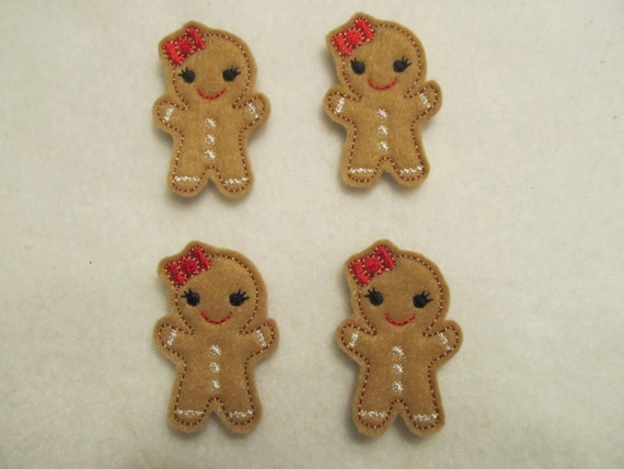 4 Felt GINGERBREAD GIRL Applique Embellishments style B red bow