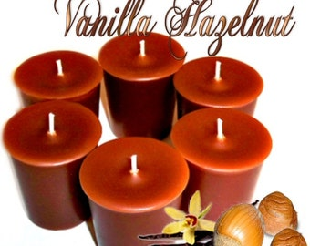 6 Vanilla Hazelnut  Votive Candles Nutty Scent