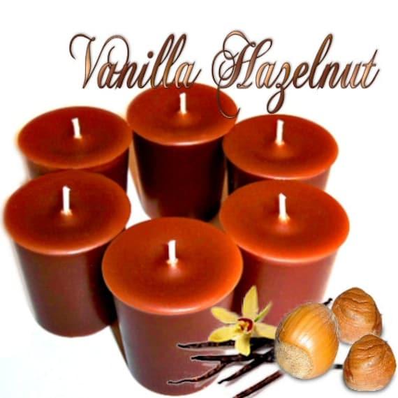 6 Vanilla Hazelnut  Votive Candles Nutty Scent