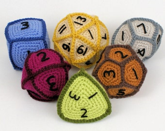 PDF Gaming Dice - six geometric CROCHET PATTERNS