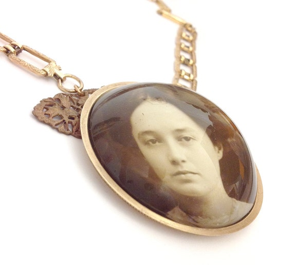 RESERVED for Sarah Hunter - Antique Photograph Under Glass Art Assemblage Statement Necklace