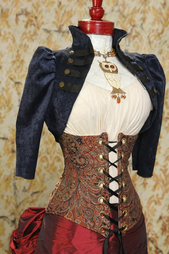 Waist 39 to 41 Copper Paisley Wench Corset