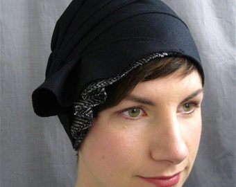 black wool cloche - made to order