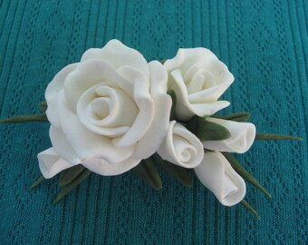 White Cold Porcelain Rose Pin