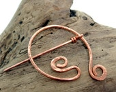 Copper Pin penannular Celtic style scarf and shawl Avalon Brooch