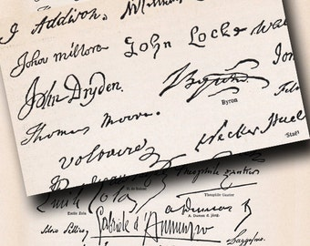 old autographs page from an encyclopedia with famous peoples signatures handwriting sampler 330