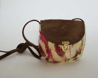 SALE City Satchel in pink ikat, small canteen purse with tribal print cotton and brown leather strap