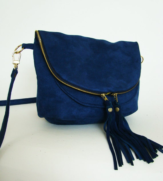 Mini Fold over Day Traveler Bag in cobalt, small convertible cross body or shoulder bag in blue suede with leather tassels, made to order