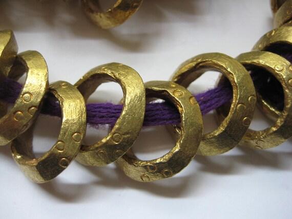 5 Ethiopian brass ring beads
