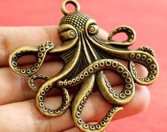 3pcs Antique Bronze Big Octopus Pendants 429-AB