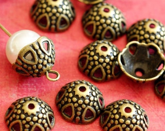 Sale 24pcs Antique Bronze Flower Bead Caps A9761-AB