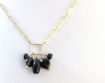 Black Obsidian, Tourmaline and Spinel Chain Necklace, Black and Gold - Christian Jewelry - Light in the Darkness Collection