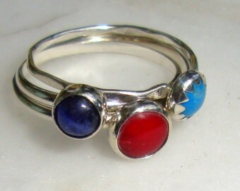 Rings Set red Coral, blue Sodalite, Turquoise - 5 - 6 mm in sterling silver from recycled sources eco friendly  - Custom Made in your Size