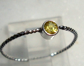 Ring Glorious Golden-YellowTopaz 3mm tube set in  eco-friendly sterling silver from recycled sources  - Custom Made in your Size