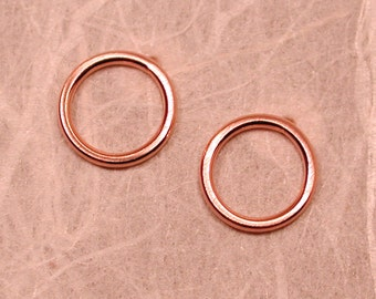 14k Brushed Rose Gold Circle Studs Small Earrings Pink 8.5mm by SARANTOS