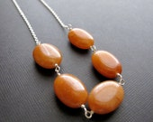 SALE Orange Necklace, Red Aventurine on Sterling Silver Chain, Wire Wrapped Stone
