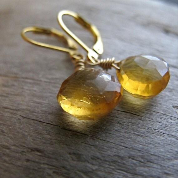 Citrine Earrings Yellow Stone Briolette Dangle 14k Gold Fill November Birthstone Scorpio