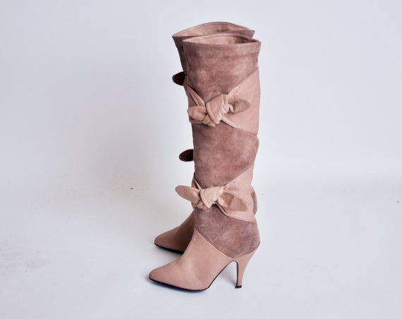 beige suede leather bow thigh high boots / 7 1/2 M