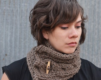 Cowl Scarf w/ Wood Button | taupe and metallic |cable | wool blend | warm | knit |trishafern | handmade | soft | scarf |wood button