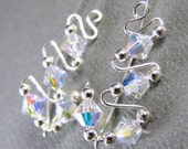 Sterling Silver Ear Sweeps Ear Climbers Stud Earrings - Swarovski Crystal Aurora Borealis