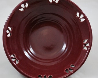 Ceramic Bowl with Carved Teardrop Design Stoneware Clay Pottery
