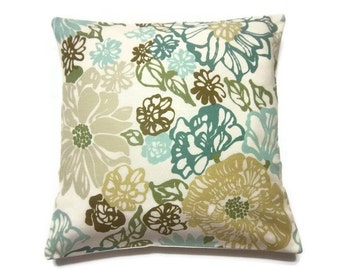 Decorative Pillow Cover Teal Mint Green Olive Green Brown Same Fabric Front/Back Modern Floral Toss Throw Accent Cover 18 x18 inch x