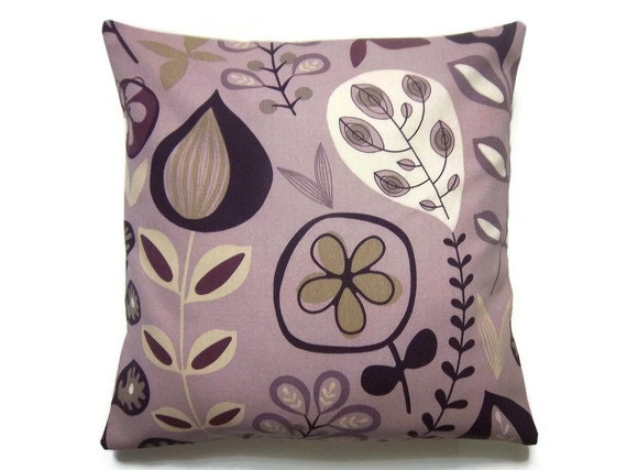 Decorative Pillow Cover Lavender Purple Taupe Ecru  Modern Floral Throw Toss Accent Cover 18 inch
