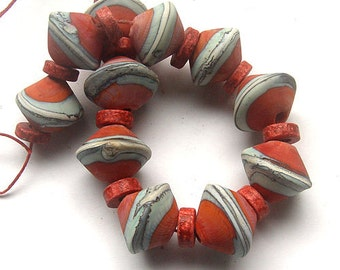 Calisto lampwork, handmade  - Coral & Copper with Silvered Ivory