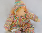 Through the woods dressed warm in doll cloth set of jacket, shoes and hat for Waldorf inspired Dolls