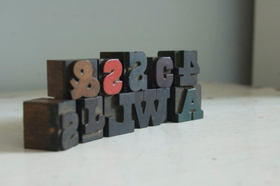 Letterpress Wood Printers Blocks Collection Small letters