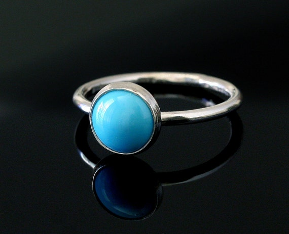 Round Turquoise Ring - Sterling Silver Gemstone - Size 2 to 15