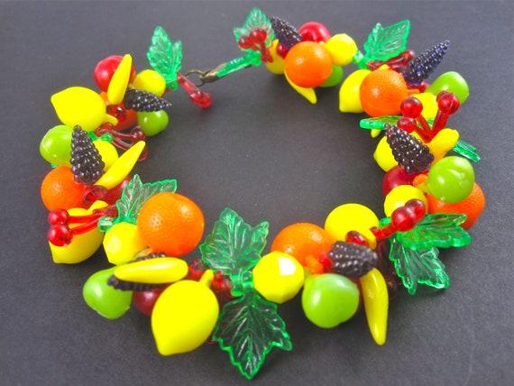 Vintage 50s Beaded Fruity Cluster Beaded Bracelet