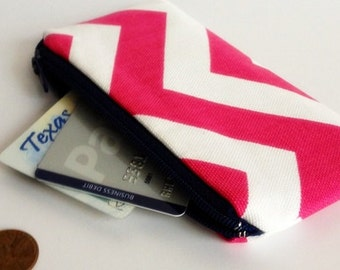 Zippered Coin Purse Wallet - Fabric Business Card Holder - Hot Pink Chevron Stripes
