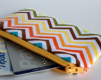 Zippered Coin Purse Wallet - Fabric Business Card Holder - Chevron Stripes