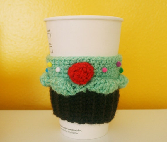 Cupcake Coffee Cup Cozy/Sleeve (Mint/Chocolate)