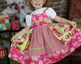 Girls dress, apron dress, twirl dress, red green pink, colorful dress, back to school, gingham dress, floral dress, cotton dress,S 12m to 10