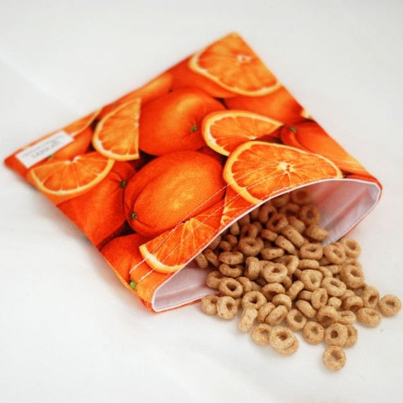 Oranges - green by mamamade Eco-Friendly Reusable Sandwich Bag
