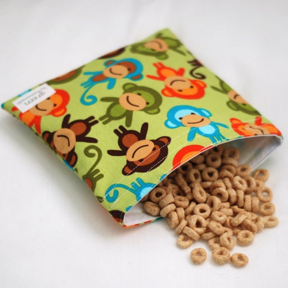 Grass Monkey - green by mamamade Eco-Friendly Reusable Sandwich Bag