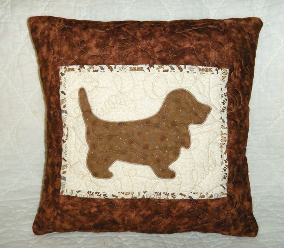 Basset Hound  - Quilted Dog throw pillow 18 inches