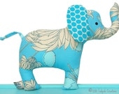 Cloth Elephant Baby Toy with Rattle - Blue - Baby Safe - Toddler - Child Friendly - Unisex New Baby - Toddler