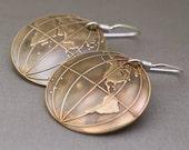 Hemispheres - Brass Dangle Earrings with Sterling Silver Earwires