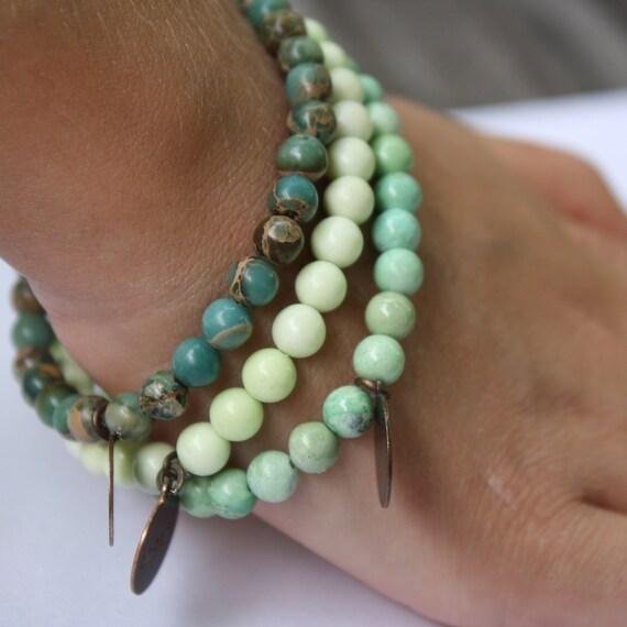 Inspirational Stretch Bracelet Inspire, Dream, Believe, Turquoise, Lemon Chrysoprase, Green Variscite