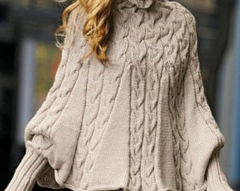 Hand Knit  Turtleneck Poncho  with sleeves from Alpaca blend yarn .Made to order