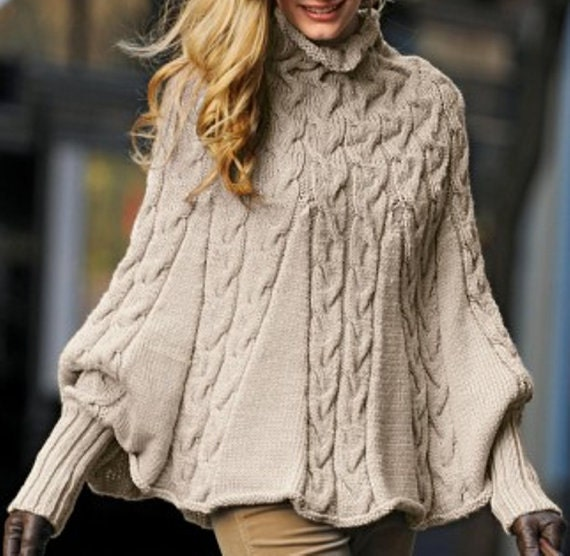 Knitting Pattern For Turtleneck Poncho : Hand Knit Turtleneck Poncho with sleeves Made to order Pick