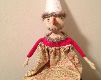 Primitive Christmas Snowgal Snowman-