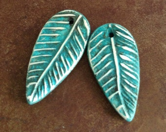 Teal Feather Charms