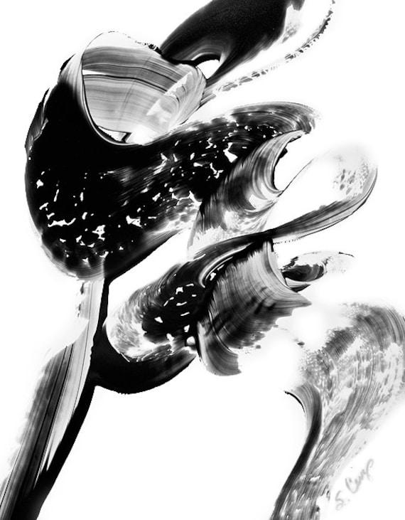 Black and White Painting BW Abstract Art Artwork High Contrast Depth Black Magic 274 Minimalism Minimalist Modern Contemporary Cummings
